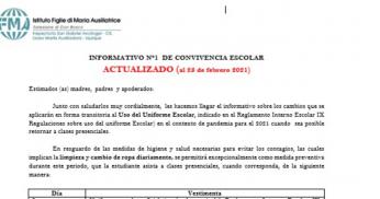 INFORMATIVO N°1, CONVIVENCIA ESCOLAR